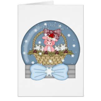 Christmas is for the Pigs - Sweet Pig Snowglobe Card