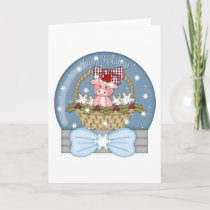 Christmas is for the Pigs - Sweet Pig Snowglobe Holiday Card