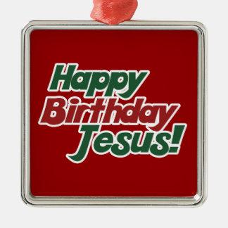 Christmas is Jesus Birthday Square Metal Christmas Ornament