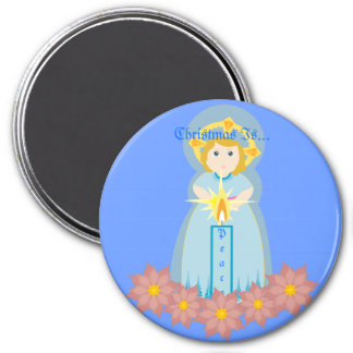 Christmas Is Peace Magnet-Customize 3 Inch Round Magnet