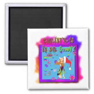 Christmas Is So Groovy 2 Inch Square Magnet