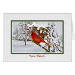 Christmas, Italian, Cardinal Bird, Snow, Card