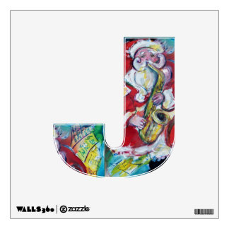 CHRISTMAS J LETTER /SANTA AND SAX, CHRISTMAS PARTY WALL STICKER