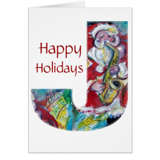 CHRISTMAS J LETTER /SANTA AND SAX MONOGRAM CARD