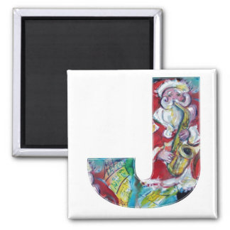 CHRISTMAS J LETTER /SANTA AND SAX MONOGRAM 2 INCH SQUARE MAGNET