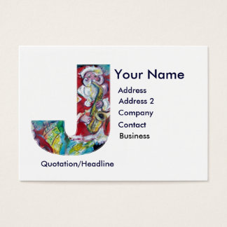 CHRISTMAS J LETTER / SANTA CLAUS WITH SAX BUSINESS CARD