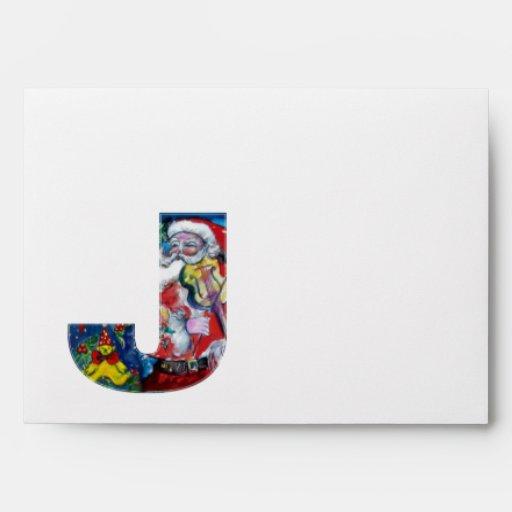 CHRISTMAS J LETTER /SANTA  CLAUS WITH VIOLIN ENVELOPE