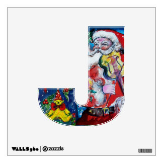 CHRISTMAS J LETTER /SANTA  CLAUS WITH VIOLIN WALL DECOR