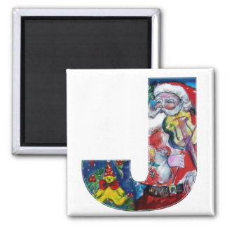 CHRISTMAS J LETTER / SANTA  WITH VIOLIN MONOGRAM 2 INCH SQUARE MAGNET