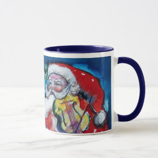 CHRISTMAS J LETTER / SANTA  WITH VIOLIN MONOGRAM MUG
