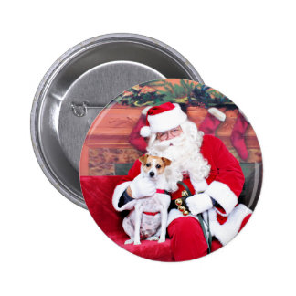Christmas - Jack Russell - Trey Pinback Buttons