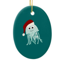 Christmas Jellyfish Ceramic Ornament