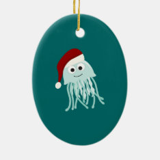 Christmas Jellyfish Ceramic Ornament at Zazzle