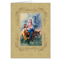 Christmas Jesus, Mary Joseph  Donkey  Angels Card