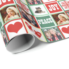 Christmas Joy Add Four Favorite Family Photos Wrapping Paper