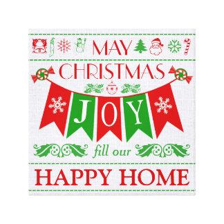 Christmas Joy Banner Text Art Wrapped Canvas Canvas Print