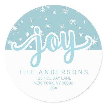 Christmas Themed Christmas Joy Blue and White Handwritten Address Classic Round Sticker