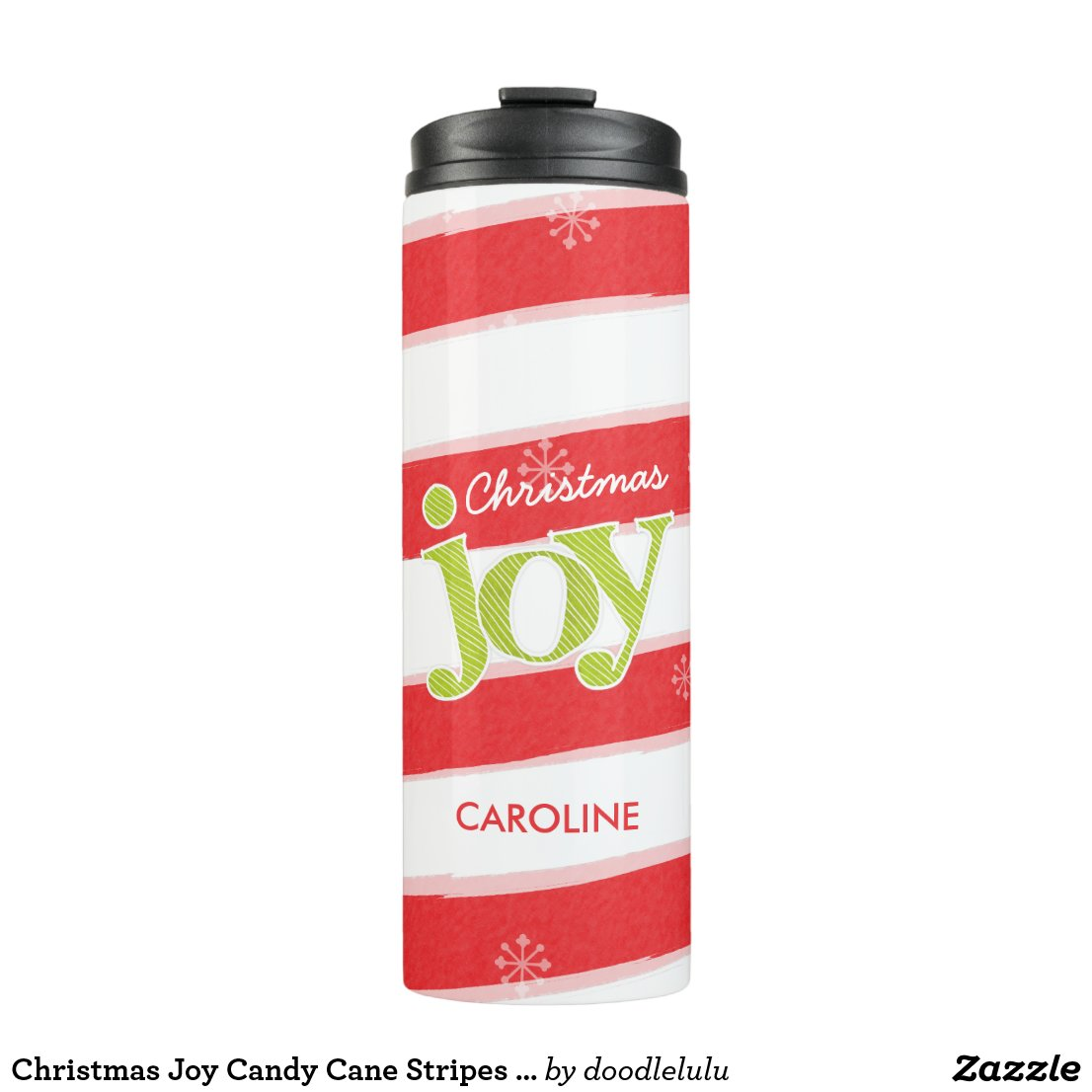 Christmas Joy Candy Cane Stripes Red and Green Thermal Tumbler