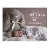 Christmas Joy Custom Ornamental Text Photo Postcard