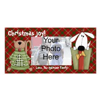 Christmas Joy, Dog and Cat Custom Photo Cards