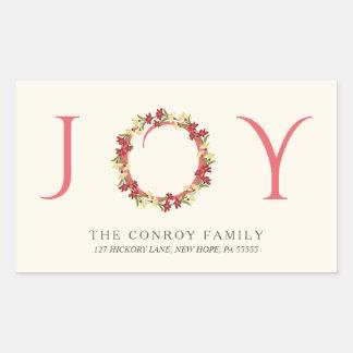 Christmas Joy Elegant Floral Wreath Return Address Rectangular Sticker