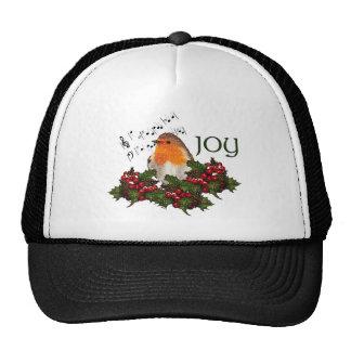 Christmas JOY English Robin Holly Berries Mesh Hats