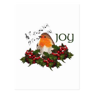 Christmas JOY: English Robin: Holly, Berries Postcard