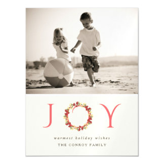 Christmas Joy Floral Wreath Classy Modern Photo Magnetic Card