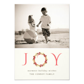 Christmas Joy Floral Wreath Classy Photo Card
