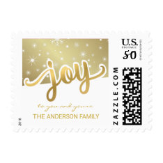 Christmas Joy Gold Hand Lettered Holiday Script Postage at Zazzle