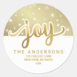 Christmas Joy Gold Handwritten Return Address Classic Round Sticker