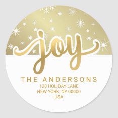 Christmas Joy Gold Handwritten Return Address Classic Round Sticker at Zazzle