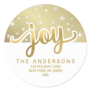 Christmas Themed Christmas Joy Gold Handwritten Return Address Classic Round Sticker