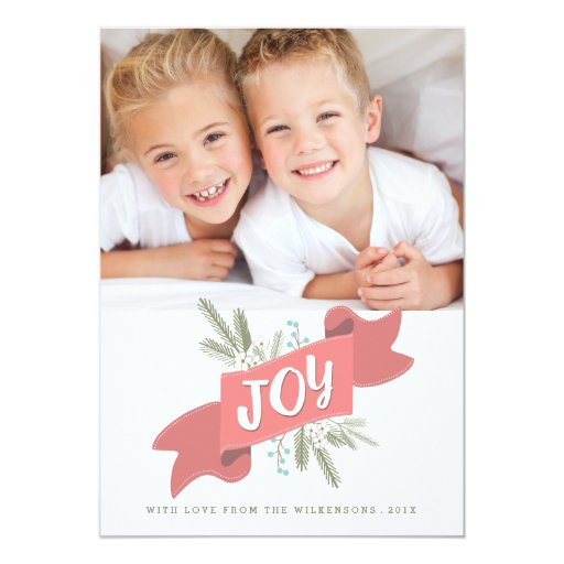 Christmas Joy Holiday Banner Photo Greeting 5x7 Paper Invitation Card