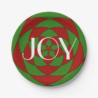 Christmas Joy Holiday Geometric Pattern Paper Plate