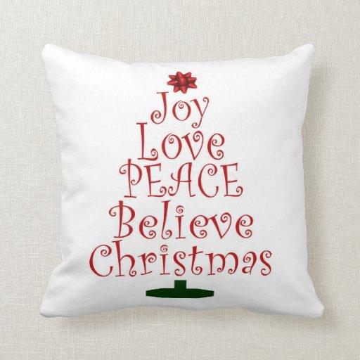 Joy Christmas Throw Pillows : Christmas Joy Love Peace Believe Throw Pillow Zazzle