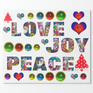 CHRISTMAS JOY LOVE PEACE WRAPPING PAPER