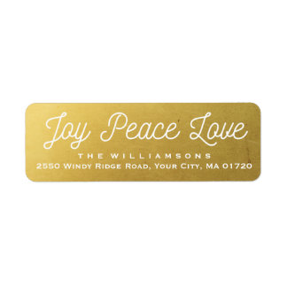 Christmas Joy Peace Love Custom Gold Label