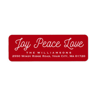 Christmas Joy Peace Love Custom Red Label