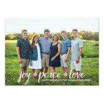 Christmas Joy Peace Love Snowflake Holiday Photo Card