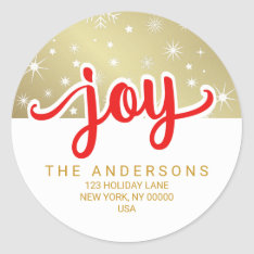 Christmas Joy Red And Gold Handwritten Address Classic Round Sticker at Zazzle
