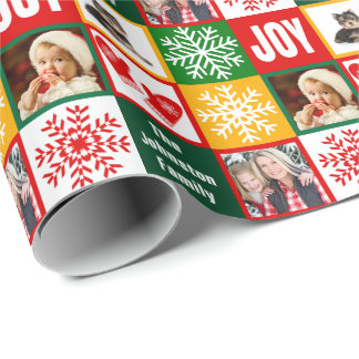 Christmas Joy Snowflake Add Your Own Family Photos Wrapping Paper