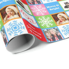 Christmas Joy Snowflake Pastels Add Family Photos Wrapping Paper
