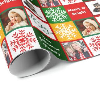 Christmas Joy Snowflakes Add Family Photos Wrapping Paper