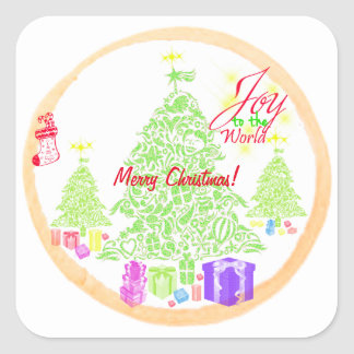 """Christmas """"Joy to the World"""" Cookie Square Sticker"""