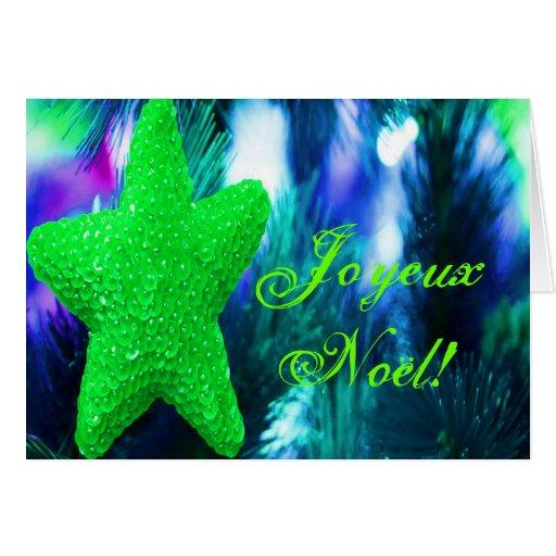 Christmas Joyeux Noel Green Christmas Star I Greeting Cards