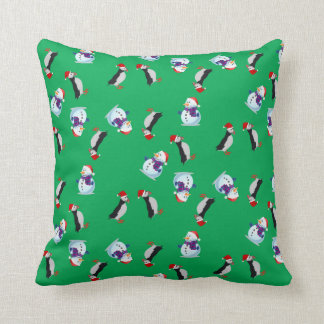 Christmas joyous puffin and snowman green pillow