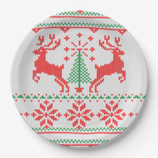 Christmas Jumper Style Knitting Pattern Paper Plate
