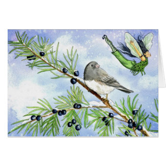 Christmas junco and juniper fairy greeting card.