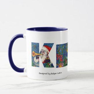 CHRISTMAS K LETTER / SANTA CLAUS BUGLER MONOGRAM MUG